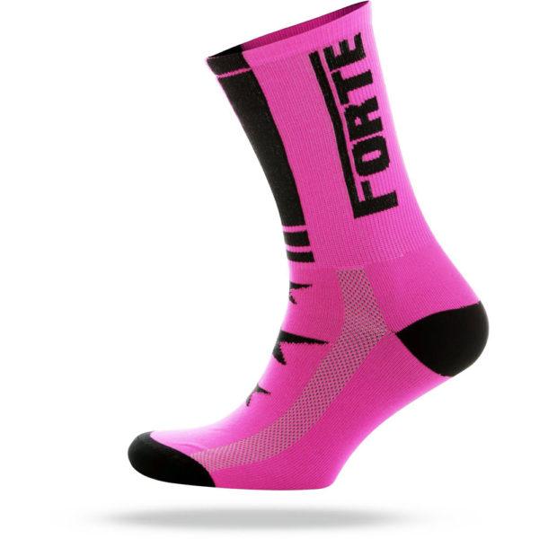 FORTE-Sock-pink-black—cycling-sock—forte—35-38